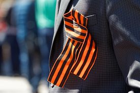 pic of lapel  - Saint George ribbon on his lapel - JPG