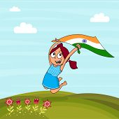 foto of indian independence day  - Cute little girl holding Indian national flag and jumping high on nature background for Independence Day celebration - JPG