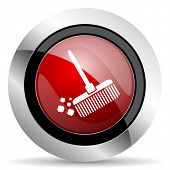 stock photo of broom  - broom red glossy web icon original modern metallic and chrome design for web and mobile app on white background   - JPG