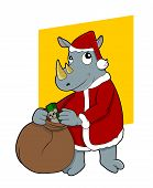 image of rhino  - Illustration of cute happy rhino wearing Santa Clause costume and carrying bag with gifts isolated on white background - JPG