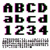 picture of distort  - Video games big pixels font with chromatic aberrations violet - JPG