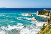 image of sidari  - white rocks in the sea near Cape Drastis on sunlight on Corfu island Greece - JPG