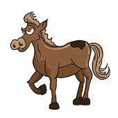 stock photo of brown horse  - brown horse cartoon illustration - JPG
