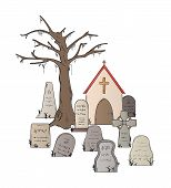 stock photo of cemetery  - cemetery with graves on white background isolated - JPG