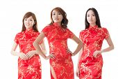 pic of traditional dress  - Group of Chinese women dress traditional cheongsam at New Year - JPG
