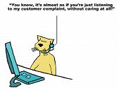 picture of rep  - Business cartoon of customer service cat and customer saying - JPG
