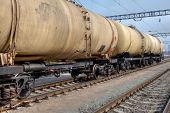 picture of cistern  - Train with oil railway cisterns on the freight station - JPG