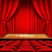 image of curtains stage  - Theater stage with red curtain and seats photo realistic vector background - JPG