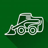 pic of skid  - Classic skid loader modern design line flat style icon with long shadow - JPG
