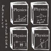 picture of freehand drawing  - Set of physics textbooks on school board - JPG