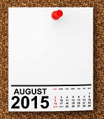 picture of august calendar  - Calendar August 2015 on blank note paper with free space for your text - JPG