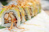 stock photo of sushi  - fresh made Japanese sushi rolls called Maki Sushi - JPG