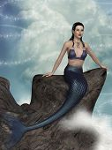 image of mermaid  - fantasy landscape with mermaid in the ocean - JPG