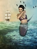 pic of mermaid  - Fantasy landscape with mermaid in the ocean - JPG