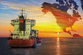 picture of ship  - Ship on sea and America map background  - JPG
