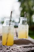 picture of iced-tea  - Ice tea with paper straws - JPG