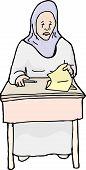 foto of weeping  - Cartoon of weeping Muslim student looking at paper - JPG