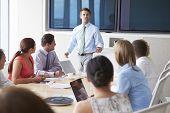 pic of motivation talk  - Motivational Speaker Talking To Businesspeople In Boardroom - JPG
