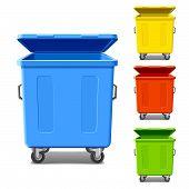 Caixas coloridas de reciclagem