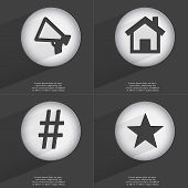 pic of hashtag  - Megaphone House Hashtag Star icon sign - JPG