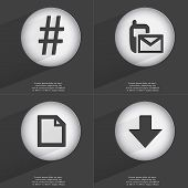 foto of hashtag  - Hashtag SMS File Arrow directed down icon sign - JPG
