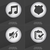 pic of tasks  - Note Police badge Mute Task completed icon sign - JPG