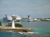 Cruise Ships Docked At Nassau, Bahamas