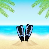 picture of flipper  - Summer background with flippers in sand - JPG