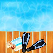 foto of flipper  - Summer background with seashells - JPG