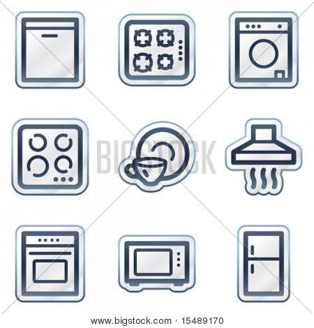 Постер, плакат: Бытовая техника веб иконки темно синий контур стикер серии, холст на подрамнике