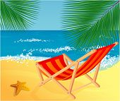 stock photo of beach party  - Chaise lounge on a beach - JPG