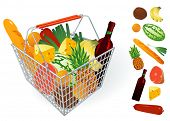 Shopping basket. Vector.