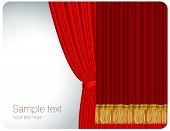 Red stage curtain. Vector.