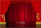 Red stage curtain. Highly realistic vector template.
