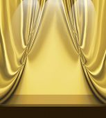 Gold Drapes On Empty Stage