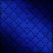Royal Blue Dark Damask Background, Tile Seamlessly