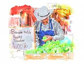 Vector Farmer's Market Watercolor Painting