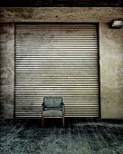 Metal Door And Single Chair Retro Photoart Grunge