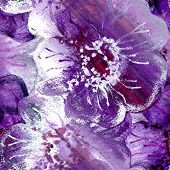 Seamless Purple Flowers Watercolor Art