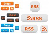 Vector. Glossy rss buttons and symbols on the white