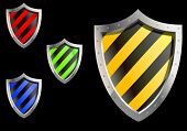 Vector version. Glossy security shields for web design. jpeg version also available
