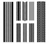 Vector version. Set of tire patterns for design isolated on white