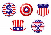 Vector version. American patriotic symbols set for design and decorate. Jpeg version is also available