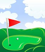 Golf field landscape as a concept of golf game. Vector version is also available