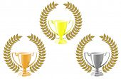 Vector version. Set of cups with laurel wreath for sport design. Jpeg version is also available