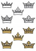 Vector version. Heraldic crowns and diadems for design and decorate. Jpeg version is also available