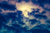Постер, плакат: Nighttime Sky With Clouds And Bright Full Moon With Shiny