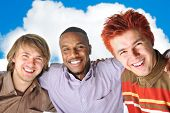 best friends, african american, blond and orange, happy young people outdoor