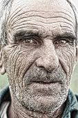Closeup Retrato de anciano, anciana arrugada cara