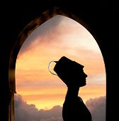stock photo of sufi  - Mysterious Oriental woman silhouette - JPG